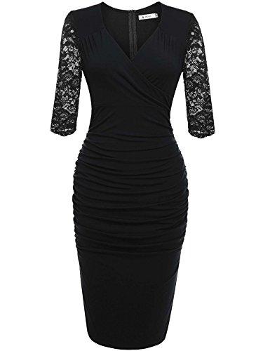 ANGVNS Damen Abendkleid V-Ausschnitt Kleid Spitzen 3/4 Arm Wickelkleid Etuikleid Cocktailkleid