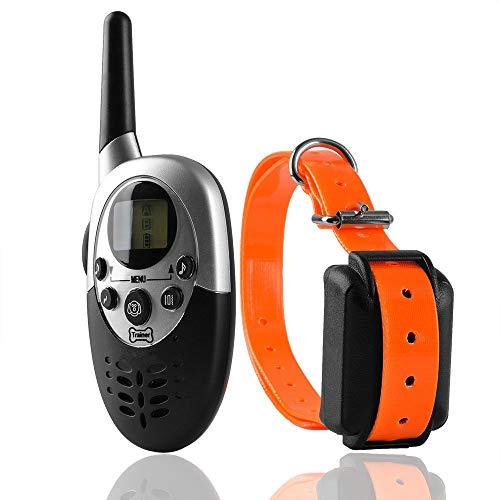 YUIOL Remote Hundehalsband 4 Trainingsmodi Wiederaufladbares wasserdichtes, harmloses und humanes Schockhalsband für kleine, mittlere und große Hunde-orange - Hund Collar Remote-bark
