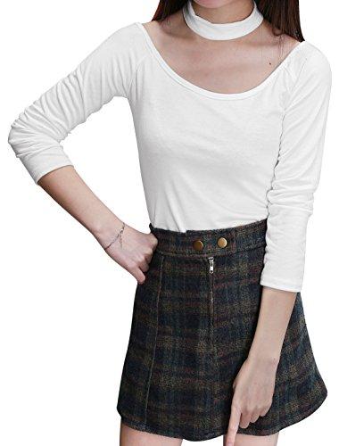 Ärmel Nackenband (Sourcingmap Damen Neckholder Nackenband lange Ärmel Schulterfrei Slim Fit Freizeit Bustier, White/XS (EU 32))