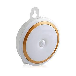 Aznoi 5LED kabellos wiederaufladbares Nachlicht, Inenleuchte mit 2 Licht Modi für Kinder, Bewegungsmelder Nachtlampe für Schlafzimmer, Kinderzimmer,Treppen, Schrank, Schublade, Küche, usw. (Gold)