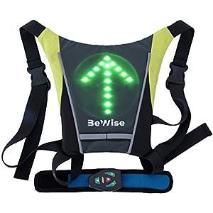 41ipkh1UdAL. SS300 Gilet con Indicatori di Direzione a LED Lampeggiante per Ciclismo Frecce Super Luminosi Bretelle Regolabili Telecomando Senza Fili Batteria Ricaricabile in 4 ore con Cavetto Usb e 15 ore di Autonomia