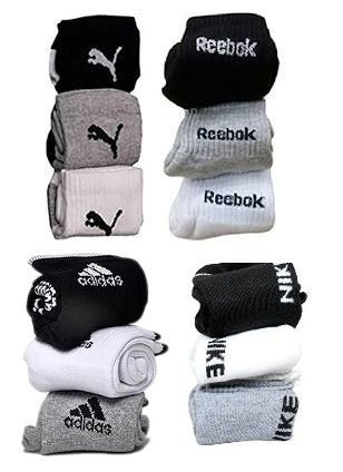 generic combo pack of 12 pair socks with logo sports ankle length terry cotton towel socks