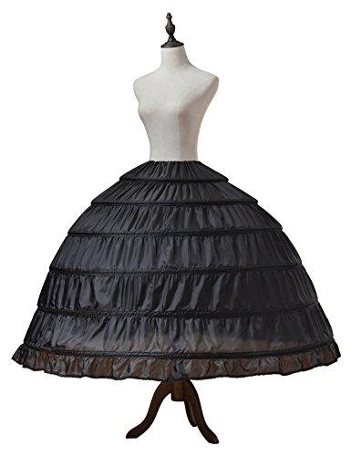 Alicepub 6 Ringe Brautkleid Petticoat Reifrock Unterrock Umfang 370cm, Schwarz, S-M (Größe 6 Ringe)