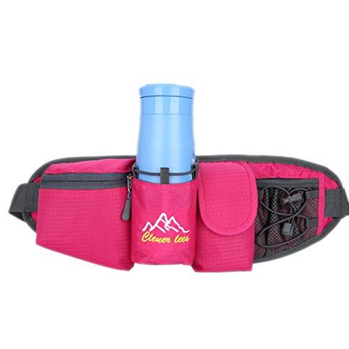 Sport Hüfttasche,Außen Camping Hüfttasche Sport wasserdicht Hüfttasche mit Kettle Tasche Laufen Gürteltasche Pouch Gürteltasche für Wandern Laufen Radfahren Camping Reise Klettern Rosa