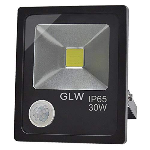 GLW 30WLED Bewegungsmelder Flutlicht Tageslichtweiß 6000K 2700lm mit PIR IP65 Wasserdichtes Sicherheitslicht im Freien 240V 3.28ft/1m Draht Super Bright 150W Halogenlampen Gleichwertiges Kein Stecker -