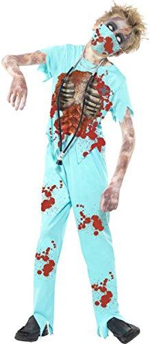 Kostüm Komplette Zombie - Smiffys Halloween Fancy Kleid Jungen Zombie Chirurg Arzt Kostüm Komplettes Set blau