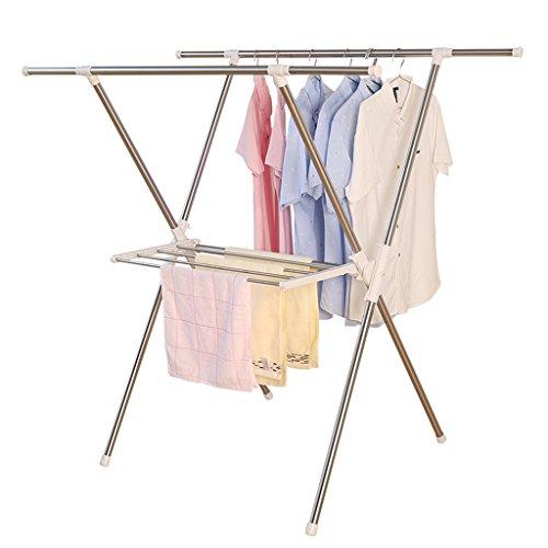 Sharon Faltende Art X-doppelter Pole Kleiderstange, einziehbarer stehender Kleiderbügel, mehrschichtiger Handtuchhalter, L95-150cm * 78 * 128cm, (Edelstahl) (Doppelter Stehender Handtuchhalter)