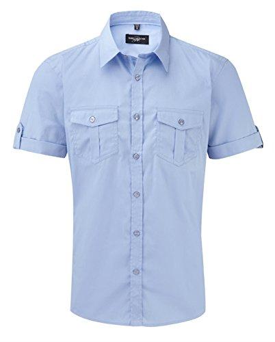 Russell Collection Men's Twill Short Roll Sleeve Shirt Bleu