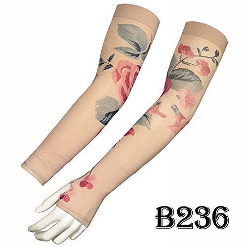 KEHUASHINA Temporäre Tattoo Sonnenschutzmittel Ärmel Half-Finger UV-Abdeckung Unisex Kühlung - Rose