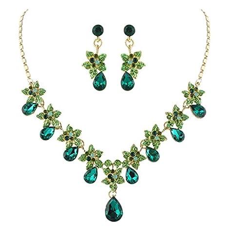 EVER FAITH® Hibiscus Tropfen österreichischen Kristall Halskette Ohrringe Set Gold-Ton - Grün (Grüne Braut Schmuck)