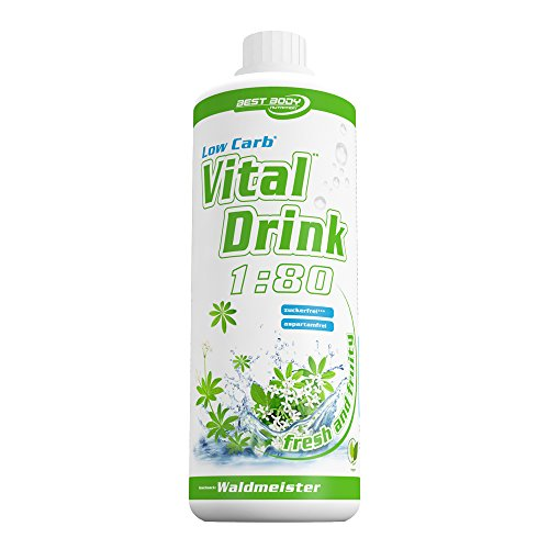Best Body Nutrition - Low Carb Vital Drink, 1:80, Waldmeister, 1000 ml Flasche
