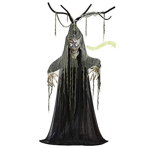 Widmann 07109 Sprechender verhexter Halloweenbaum mit beweglichem Mund und blinken LED Augen, Unisex- Erwachsene, Schwarz, Taglia unica