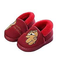 Amitafo Cute Cotton Slipper Cartoon Bear Unisex Kids Comfort Winter Warm Plush Indoor Slippers Non-Slip House Shoes, Red Wine, 4/5.5 UK Child
