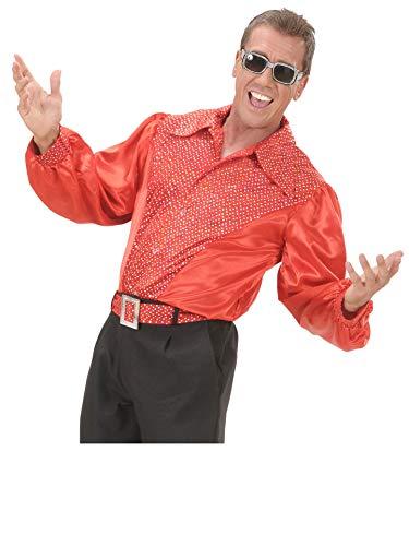 WIDMANN Camisa de raso con lentejuelas roja Adulto Carnaval