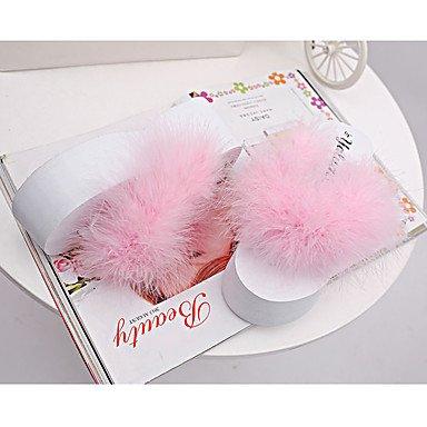 zhENfu donna pantofole & amp; flip-flops estate pu outdoor casual tacco piatto Feather Bianco Nero Fuchsia verde arrossendo rosa Blushing Pink