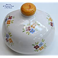 Sponges Container Style Classic Orange Flower for Kitchen and Bathroom Unique Manufact Handmade Le Ceramiche del Castello 100% Made in Italy