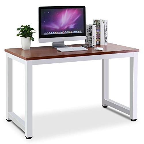 Tribesigns Moderner Schreibtisch Computertisch PC Tisch, 25mm Dicke Bürotisch Arbeitstisch für Home Office Arbeitzimmer ,Schreibtisch für Kinder/Studenten in Kinderzimmer 120cm(L) x 60cm(D) x 74cm(H) (Walnuss/Weiss)