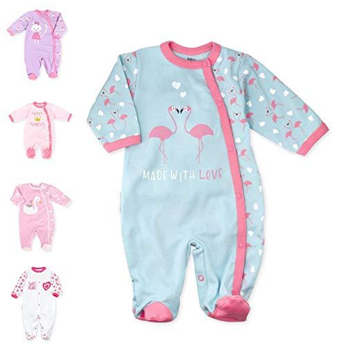 Baby Sweets Baby Strampler Mädchen türkis rosa   Motiv: Made with Love   Babystrampler mit Flamingos und Herzen für Neugeborene & Kleinkinder   Größe: 6-9 Monate (74)...