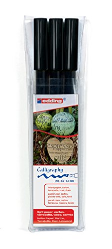 edding 1255 Kalligrafie-Stift - Farbe: schwarz 3x - Ideal für Kalligraphie und Lettering auf nahezu allen Oberflächen - Made in Germany