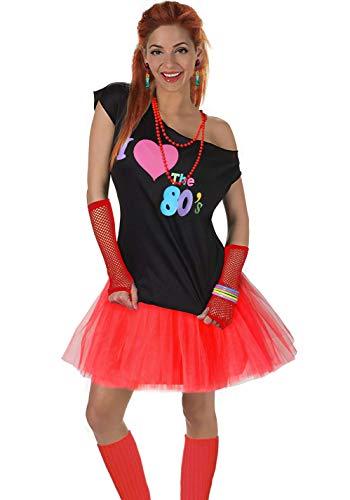 Fun Daisy Clothing Damen I Love The 80er Jahre T-Shirt 80er Jahre Outfit Zubehör, Rot - UK 16-18 / L-XL (Disco Outfit Damen)