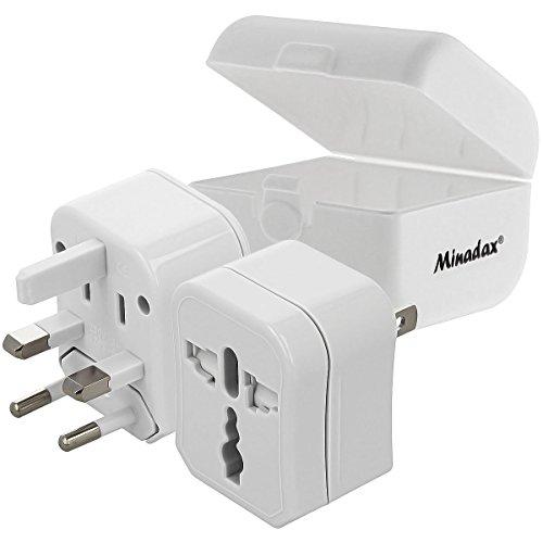 Minadax® Reiseadapter Travel Adapter universal 3-teilig, 150 Laender EU, USA, AUS, UK Stecker, kompakt 64 x 62 x 47mm