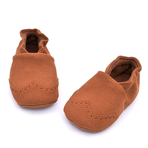 Luerme Babyschuhe Kleinkind Slip On Schuhe Leder Wanderschuhe Weiche Sohle Lauflernschuhe Krippeschuhe Braun