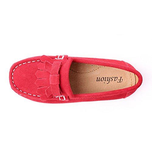 CHENGYANG Filles Garçons Mignonne Bowknot Glisser Sur Mocassins Flâneurs Chaussures Rouge