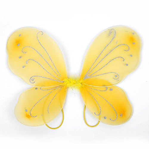 Leaftree Butterfly Wings Dress Up, Party Spielen Dress Up Butterfly Fairy Kostüm Dress Up Mädchen Angel Wings Fairy Butterfly Wings (10Pcs) - Gelb (Angel Dress Up Kostüm)