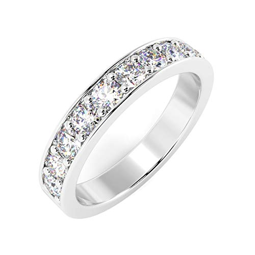 Special Offer 0.50Ct Pave Set Round Diamond Half Eternity Ring Crafted In White Gold Size N
