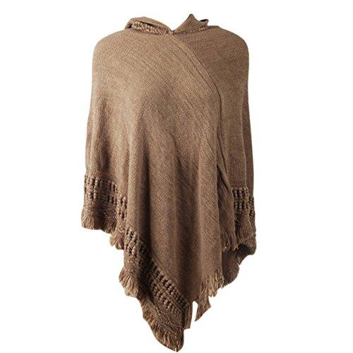 Yalatan Women Batwing Knit Poncho Cape Cardigan Tassels Warm Hooded Outwear Sweater Khaki