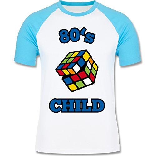 Shirtracer Statement Shirts - 80's Child - Zauberwürfel - Herren Baseball Shirt Weiß/Türkis