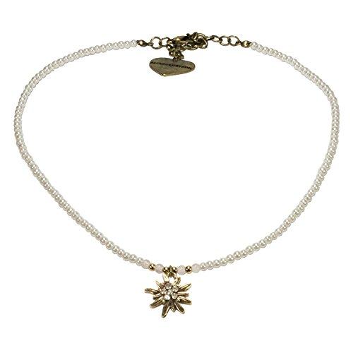 Perlen Trachten Schmuck (Alpenflüstern Filigran Perlen-Trachtenkette Strass-Edelweiß - Damen-Trachtenschmuck mit antik-gold-farbenem Edelweiss, Dirndlkette creme-weiß)