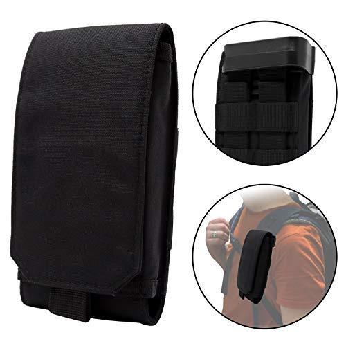 Clakit Outdoor Handy-Tasche mit Klemmhalterung Rucksack 10x17,5cm Smartphonetasche Schutzhülle für Apple, Samsung, HTC, Huawei, Sony, Schwarz (Mit Tasche Trageriemen Telefon)