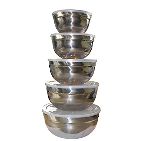 5 Piece Stainless Steel Nesting Mixing Bowl Set with Plastic Lids by Belle Vous - Flat Non-Slip Base for Bread Making and Baking - Stackable and Nested Bowls for Easy Storage - Dishwasher