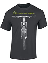Baddery Bicicletta Maglietta: One Man One Engine - T-Shirt da Bicicletta Come Regalo per i Ciclista - MTB - Road Bike - Fixie- BMX - Montagna - Maglia Uomo - Divertente
