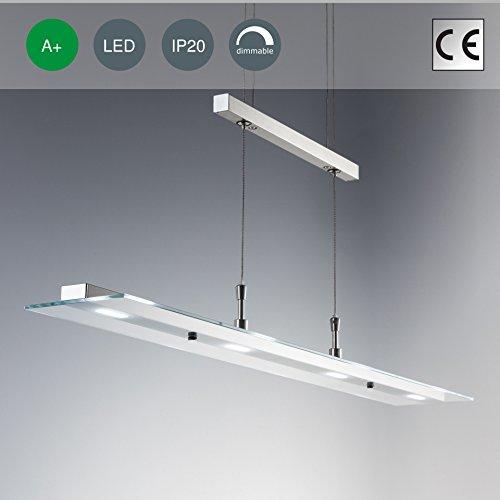 LED Pendelleuchte, Hängelampe, Dimmbar, Tastdimmer an der Hängeleuchte, Wohnzimmerlampe, Pendel, LED Pendelleuchte, Esstischlampe, LED Hängeleuchte, höhenverstellbar, warmweiss, matt-nickel, 85 x 90 cm