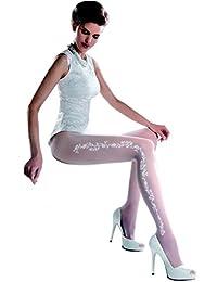 Gabriella - Collant blanc mariage à motif floral 20 den