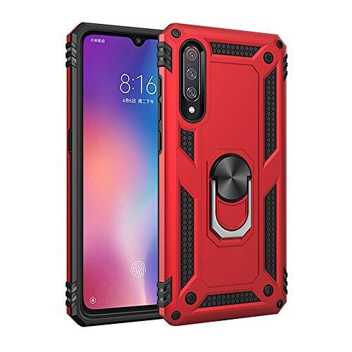 TANYO Hülle Geeignet für Xiaomi Mi 9, Ringhalterung Magnetic Car Mount Series Militärischer Anti-Drop Hülle, TPU/PC 2 in 1 Ultra Dünn Schutzhülle, Rot Serie Magnet Mount