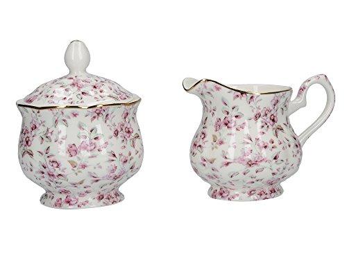 Katie Alice Ditsy Floral Zuckertopf und Sahnekännchen aus feinem Porzellan, 9 x 9 cm (3½ x 3½ Zoll)