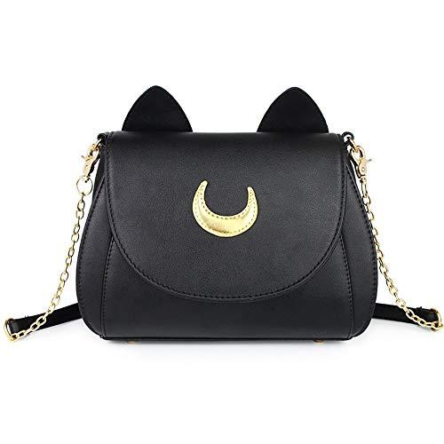 StillCool Handtasche Cosplay Moon Mark PU-Lederne Frauen Schultertasche umhängetasche Taschen lederhandtaschen Handtasche for Damen Mädchen (Schwarz)
