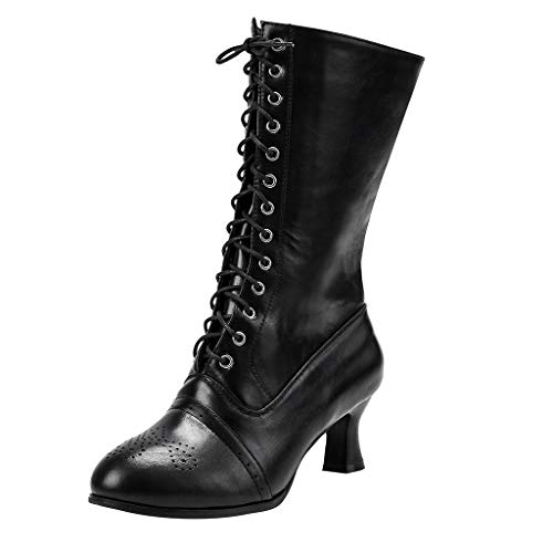 Ladies Lace Up Boots Calf Length Boots Women Leather Louis Heel Ankle Boots Punk Womens Combat Boots Steampunk Gothic Vintage