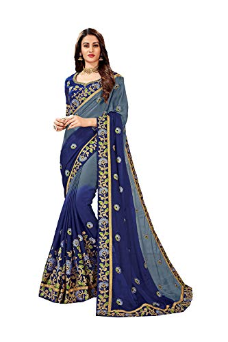 Designer Sarees Embroidery Chiffon Saree for Women with Unstitched Blouse Piece. Designer-chiffon Sarees