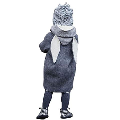 VENMO Winter Warm Toddler Baby Girls Coat Long Sleeve Ears Design Button Hoodie Jacket (3T, Gray)