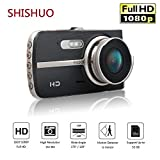 SHISHUO Dash Cam Front and Rear - 4 Inch Big Screen 1080P HD IPS Display Vehicle Driving Recording Cameras with 16GB Micro SD Card, Built In G-Sensor, Motion Detection, Parking Monitoring