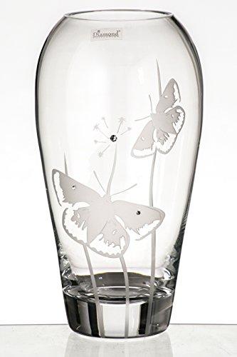 Farfalla vaso–lusso mano vaso cilindro in vetro soffiato–decorato con cristalli swarovski e sabbiato farfalle–premium senza piombo vetro soffiato a bocca–decorativo centrotavola–trasparente, 11.8pollici (30cm)
