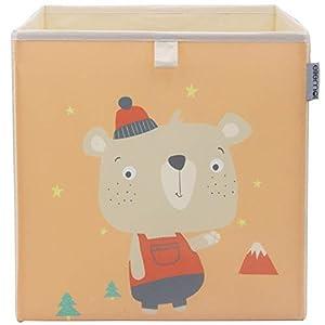 ELLEMOI Kinder Aufbewahrungsbox 33x33x33 Spielzeugbox Praktische Aufbewahrungsbox für Kinderzimmer (Kleiner Waschbär)