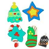 100 Pièces de Crayons avec Gommes Toppers de Noël, Accessoires Amusants de Fête, Remplisseurs de Bas de Noël, Cadeaux de Classe, 4 Conceptions Festives