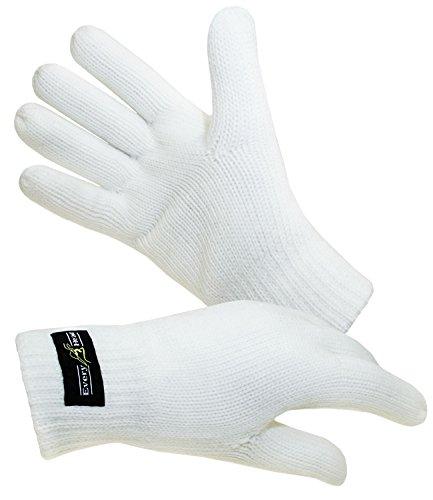 EveryHead Herrenhandschuhe Thinsulate Fingerhandschuhe Strickhandschuhe Winterhandschuhe isoliert Fleecefutter für Männer (EH-57757-W17-HE0-1-XS) in Wollweiß, Größe XS inkl Hutfibel