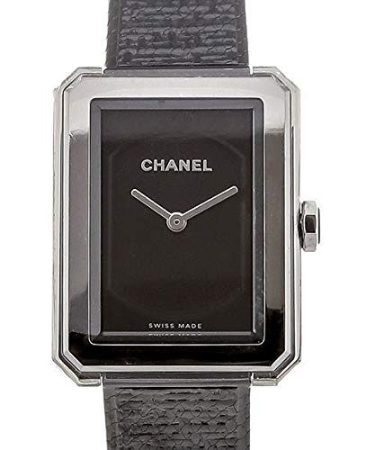 CHANEL boy-friend nero guilloche quadrante orologio H4883