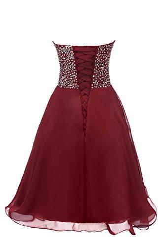 Eudolah Robe de soiree ceremonie courte bustier en coeur orne de perles ceremonie cocktail femme Rouge Fonce-B